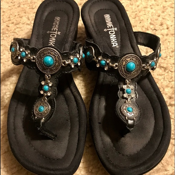 Black Sandals With Turquoise Stones